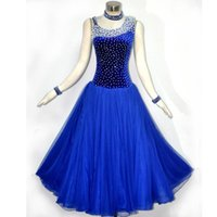 Wholesale Standard Ballroom Dress New Sparkle Royal Blue Flamenco Dress Custom made Tango Waltz Modern Competition Dancing Dresses