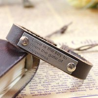 Wholesale 2 colors dog tag genuine leather bracelets adjustable Wristband Cuff punk jewelry for men women Valentine s Day best friend gift