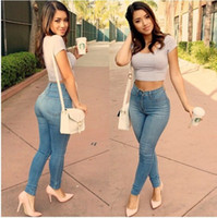 Wholesale 2017 New Plus size Women Classic Fashion High Waist Skinny Jeans Ladies Pants Hot Sale Sheath Pencil Jeans Casual Bodycon Pants
