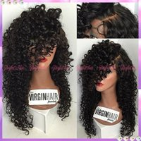big ponytails - Malaysian Glueless Full Lace Wig Virgin Hair Natural Black Color Density High Ponytail Full Lace Wigs Lace Front Wigs Curly