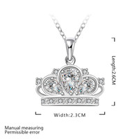 Wholesale Pretty Gift Silver Jewelry Clear Zircon Crown Flower Pendant Necklace