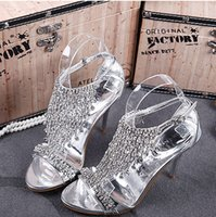 Wholesale Gorgeous Hot Selling New Luxury Wedding Bride Shoes cm High heeled Crystal Prom Evening Party Wedding Bridal Shoes