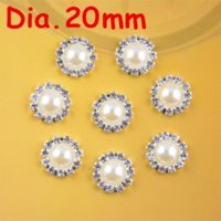 Quilt Accessories Rhinestones Yes 20mm round metal rhinestone pearl button flat back wedding embellishment hair bow alloy button DIY hair accessory 100pcs PJ05 M13270