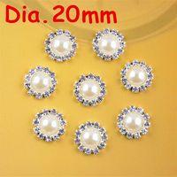 Cheap 20mm round metal rhinestone pearl button flat back wedding embellishment hair bow alloy button DIY hair accessory 100pcs PJ05 M13270