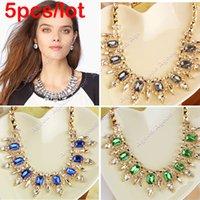 rhinestone chain - 5pcs New Fashion European Style women Elegant Punk Rhinestones Choker Pendant Chain Necklace Jewelry SV002576