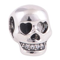 Wholesale Hot Sale Authentic Sterling Silver Bead Clear Crystals Pave Skull Charm Fits European Diy Jewelry Charm Bracelets Making YZ423