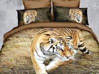 Cheap cool animal tiger 3D printing duvet quilt sheet set bed cotton queen size comforter bedding sets 6 pcs