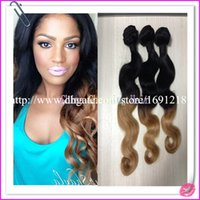 Cheap 2014 Hot Selling !!! Brazilian Ombre Hair Extensions Body Wave Ombre Hair Bundles #1b 27 Two Tone Ombre Hair Weaves Weaving Weft