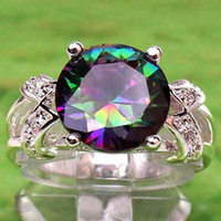 amethyst rings white gold - 2015 Lady Women Cocktail Prom Homecoming PartyLuxury Rainbow CT Round Cut Purple Amethyst White Topaz K White Gold Plated Ring