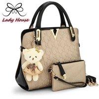 bear artwork - 2016 new casual Embossed handbag designer handbags high quality women messenger bags lady shoulder bag bags set with bear toy