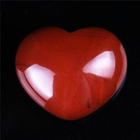 Wholesale 30mm Rose Quartz Red jasper Amethyst Heart Shape Crystal Chakra Stone Carved Healing Reiki Free Pouch