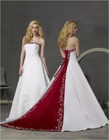 black and white dress - 2015 Embroidery Wedding Dresses Strapless Red and White Connected A Line Sweep Train Lace Up With Appliqued Beaded Wedding Bridal Gowns MBA