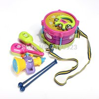 baby toy drums - 5pcs Roll Drum Musical Instruments Band Kit Kids Children Toy Gift Set New