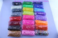 Cheap 95 colors Solid Jelly Glitter Transparent Rainbow Loom Refill Rubber Bands Rainbow Loom Bracelet for kids (600 pcs bands+24 pcs S C-clips)