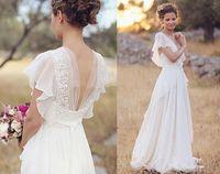 Wholesale Bohemian Dresses Wedding Dresses Pearls Deep V Neck Backless Bridal Dresses Flower Beading Sheer Sleeve Pleats Chiffon Wedding Dresses
