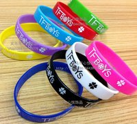 Wholesale 9 styles Hot sale TFBOYS wristbands TFBOYS Silicone Wristbands silicone bracelet Classic Hip hop Support wristband LJJD549