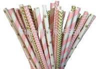 Wholesale Pink and Gold Paper Straws Mixed Paper Drinking Straws For Wedding Party Birthday Decoration