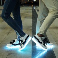 Cheap Eight light Colors LED Luminous Shoes USB charge Unisex Lovers Flashing Men and Women Sneakers Colorful Glowing Leisure Flat Shoes