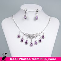 Rhinestones crystal ring jewelry - ONLY Cheap Necklace Drop Earrings Ring Purple Silver Rhinestone Crystal Bridal Accessories Bridesmaid Party Wedding Jewelry Sets