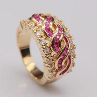 belle ruby - Classique belle argent naturel Ruby AAA CZ Gems anneau plaqué or R108