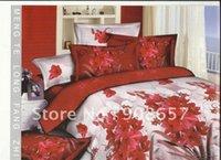 bedroom sets discount - red vivid flower prints cotton bed linen discount home textile full queen quilt duvet covers sets pc for comforter bedroom