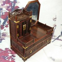Wholesale Red wood dresser mirror box mahogany jewelry box dressing practical household ornaments wedding gift ideas