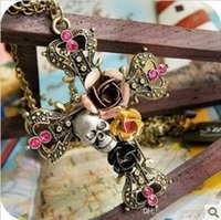 crystal diamond skull - 2014 new Punk Style Retro Cross With Rose Flower Crystal Diamond Skull Pendant Necklaces