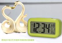 Wholesale New Digital LCD Screen Mini Desktop LED Projector Alarm Clock Multi function with Snooze Blue Backlight Calendar