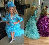 pageant gowns - 2015 Hot High Low Pageant Dresses For Girls Blue Organza Lace Half Sleeve Kids Prom Dresses Custom Made Pageant Gowns