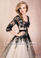 Wholesale In Stock Scoop Tea Length A Line Tulle Lace embroidery Long Sleeves Short Lace Up Back Wedding Dresses Cocktail Dress