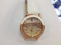 Wholesale Women Girls Gift Leather Strap watchband crystal rhinestone Watch women Dress Wrist Bracelet Watch