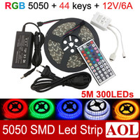 Wholesale 5050 SMD RGB LED Strip Light leds meter Waterproof Free key IR Remote Power Supply V A for decoration lighting
