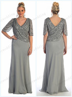 brown mother of the bride dresses - 2015 Spring New Arrival Plus Size Beading Chiffon Mother Of The Bride Dresses V Neckline Half Sleeve Sheath Floor Length Mother Dress