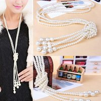 artificial pearl necklace - New Arrived Fashion White Artificial Pearls Long Chain Charm Necklace Valentine nx0107