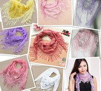 Wholesale New fashion long shawl scarves Loop Infinity Scarves spain scarf women tassel Cotton and linen fold color random