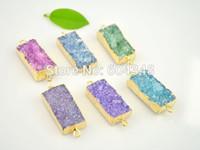 Wholesale 5pcs Mixed Color Quartz Druzy Crystal Connectors Rectangle shape Gold Plated Drusy Gem stone Connectors Pendant Beads