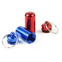 drugs - 2pcs Mini Portable Alloy Waterproof Drug Bottle Pill Medicine Case With Key Ring Outdoor Resuce Outfits os166