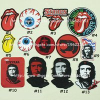 Wholesale Popular SEW ON Patch Sewing Buttons Red tongue punk embroidery che badge label Harajuku eye patch clothes stick