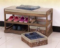 benches with storage - Wooden Shoe Rack With Two Storage Basket Paulownia Solid Wood Bench Living Room Furniture Japanese Style Shoe Bench Shelf Rack