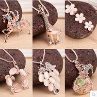 giraffe gifts - Fashion animal necklace sweater chain opal flowers Pegasus giraffes Bottle pendant etc women xmas gifts Mix Order