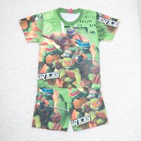big o cartoon - Ninja Turtles T Big Size Children Cartoon Pajamas Cartoon Printed Cotton Homewear summer sleepwear boy t shirt Pants Pajamas suit C001