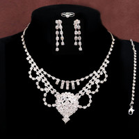 Wholesale New Arrival Silver Plated Rhinestone Austrian Crystal Necklace Earrings Bracelet Ring Wedding Bride Bridal Jewelry Sets
