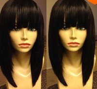 short black wigs - Grade A peruvian virgin hair density bob lace wig front lace wig glueless simulation lace wig short human hair wigs with bangs