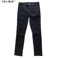 Wholesale Knee Hole Lancinate Elastic Men Jeans Hip Hop High Street Black Skinny Jeans Sport Slim Autumn Jeans For Men KMB0017