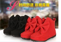 Wholesale 2015 Winter New Baby Warm Snowboots Infant Baby Leather Fur Lace Bowknot Shoes Children Gilrs Shoes Kids Prewalker Boots Pink Red