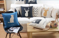 Wholesale Nordic Minimal Deer Stag Elk Bear Elephant Mountain Sketch Cushions Pillows Covers Decorative Sofa Linen Cotton Cushion Cover Pillow Case