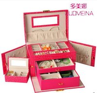 Wholesale layer space luxury Practical leather jewelry box earrings necklace pendant jewelry display gift packaging box