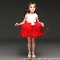 Wholesale Pettigirl Christmas New Arrival Girl Dresses White And Red Dresses With Petal And Beige Bows Infant Party Princess Dresses GD31025