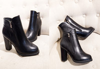 Wholesale Nice Laddy Double Zipper PU Fleece Round Toes High Heel Ankle Boots