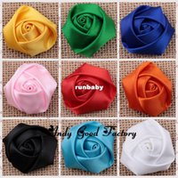 Headbands cotton fabric roll - 180pcs Colors Rose Flowers Baby Flower Headbands Satin Rolled Rosettes Ribbon Rose Fabric Flower Hair Acessories FL078